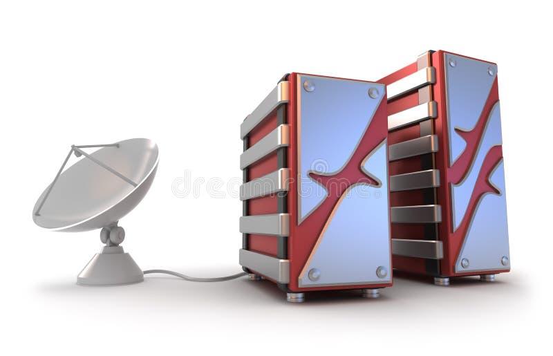 Servers en satellietantenne stock illustratie