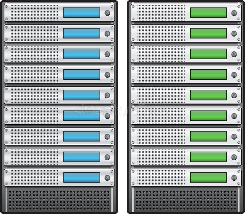 Servers in geïnstalleerdj in rek stock illustratie