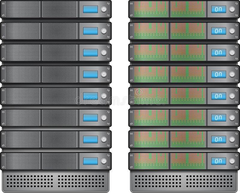 Servers in geïnstalleerdt in rek vector illustratie