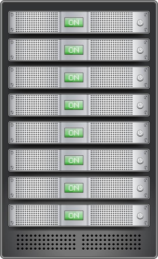 Servers in geïnstalleerdt in rek stock illustratie