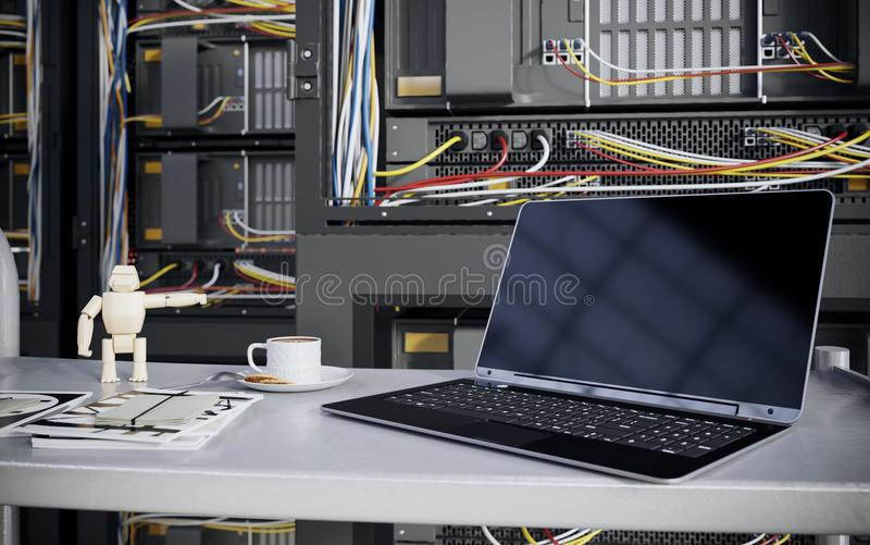 Servers and hardware room with notebook and coffee cup computer technology closeup photo royalty free stock photography