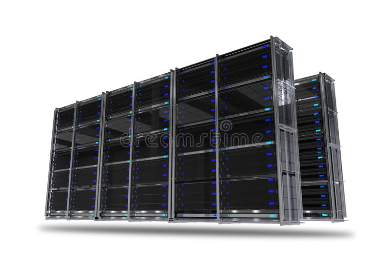 Servers Rack Isolated royalty free illustration