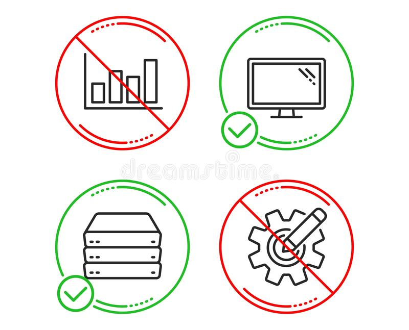Servers, Report diagram and Monitor icons set. Cogwheel sign. Big data, Financial market, Computer component. Vector. Do or Stop. Servers, Report diagram and vector illustration