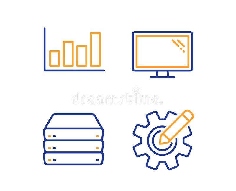 Servers, Report diagram and Monitor icons set. Cogwheel sign. Big data, Financial market, Computer component. Vector. Servers, Report diagram and Monitor icons royalty free illustration