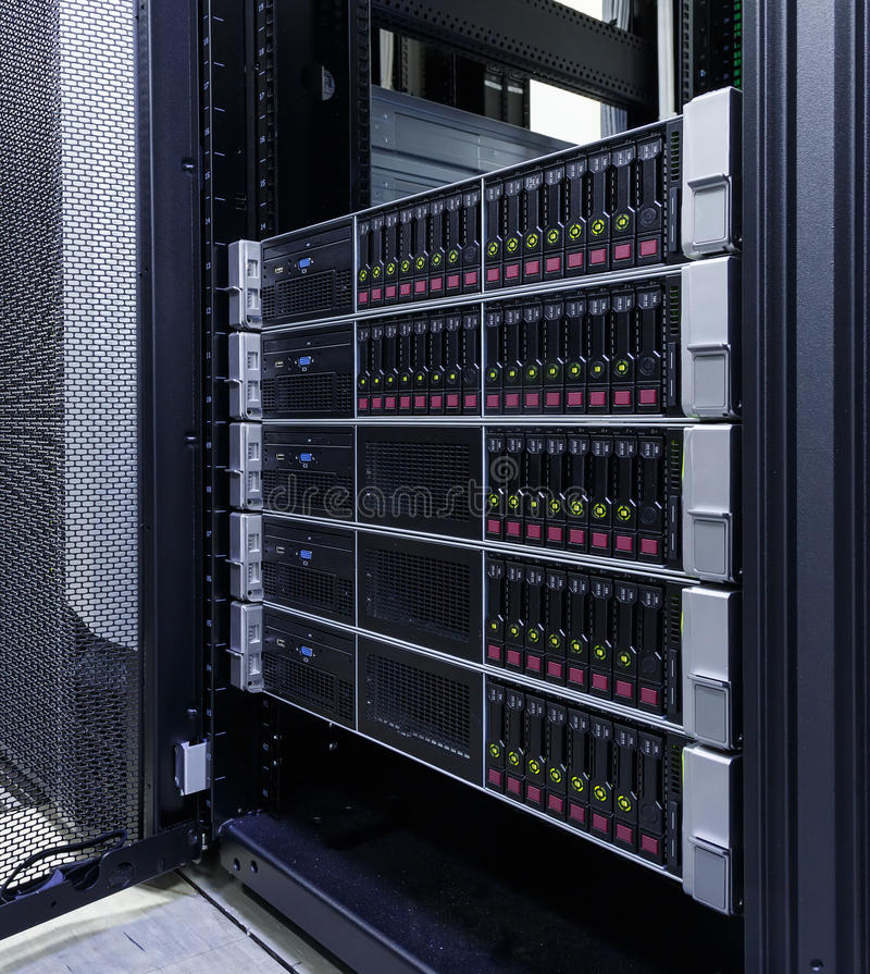Servers stack with hard drives in datacenter for backup and data storage royalty free stock image