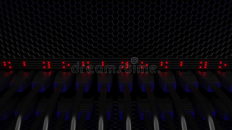 Serverschakelaars en het opvlammen rode LEDs Verbinding, netwerk, wolkentechnologie, grote gegevens of elektronische handelconcep royalty-vrije illustratie