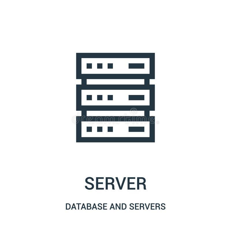 serversymbolsvektor fr?n databas och serversamling Tunn linje illustration f?r vektor f?r server?versiktssymbol stock illustrationer