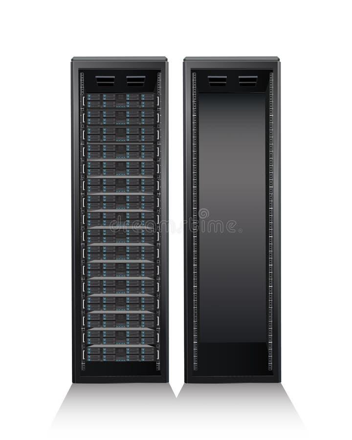 Serverturm auf weißem Hintergrund stock abbildung