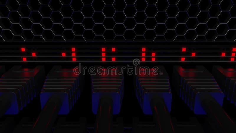 Serververbindungsstücke und blinkende LED Verbindung, Netz, Wolkentechnologie, große Daten oder E-Commerce-Konzepte 3d lizenzfreie abbildung
