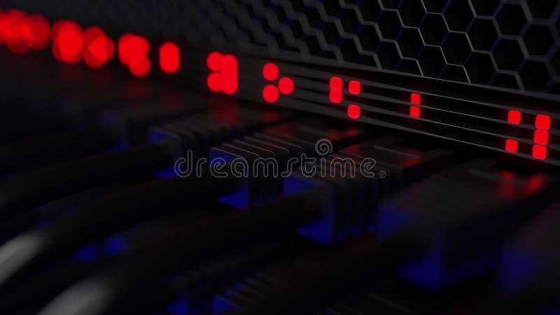 Serververbindungsstücke und blinkende rote Lampen, flacher Fokus Netz, Wolkentechnologie, große Daten oder ISP-Konzepte 3d lizenzfreies stockbild