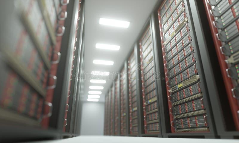 Serverzaal Gegevenscentrum royalty-vrije illustratie