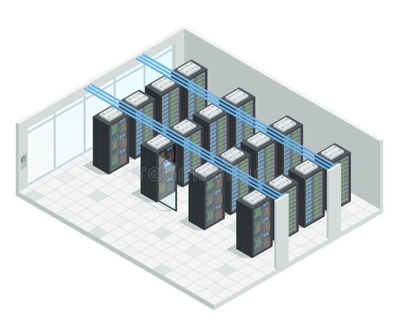 Serverzaal Isometrisch Binnenland vector illustratie