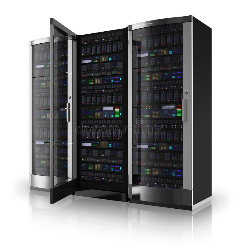 Serverzahnstangen mit offener Tür lizenzfreie abbildung