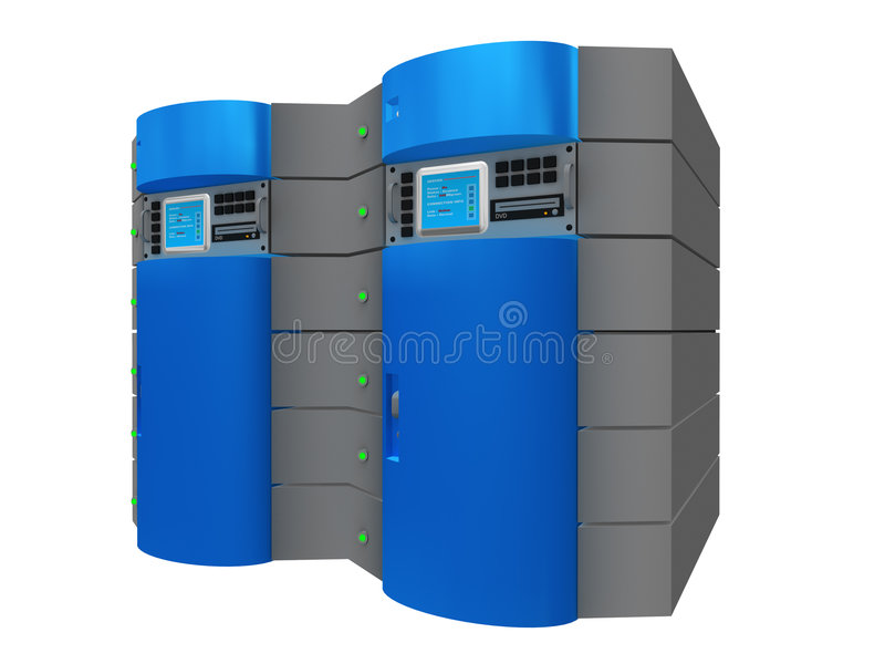 Serveur 3d bleu illustration stock