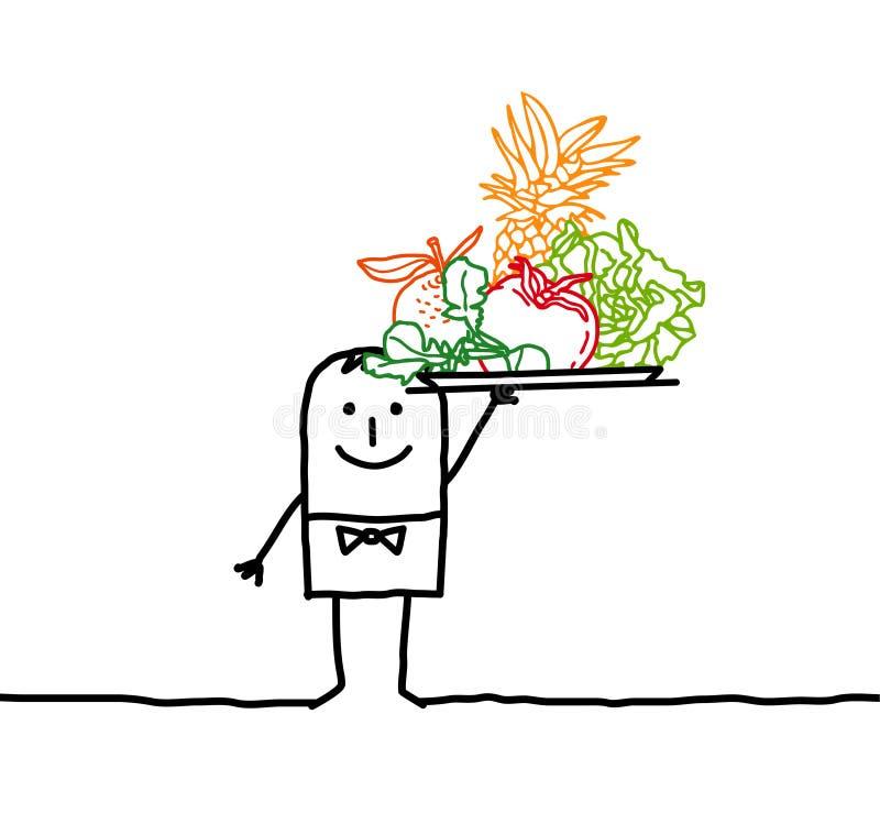 Serveur avec des fruits et des légumes illustration de vecteur