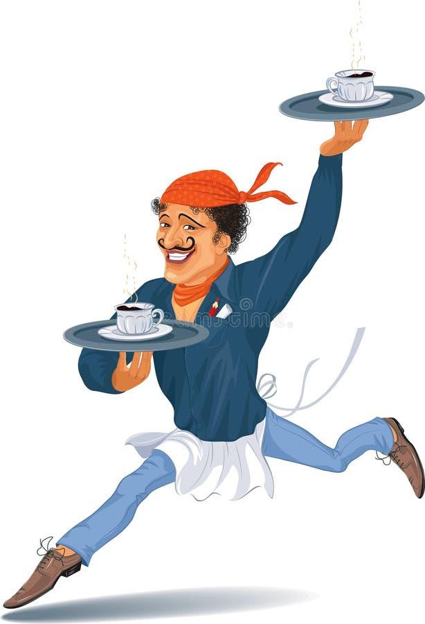 Serveur avec du café illustration stock
