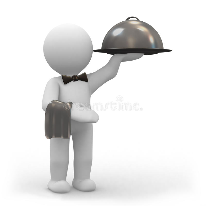 Serveur avec le champ de cablage à couches multiples de nourriture illustration de vecteur