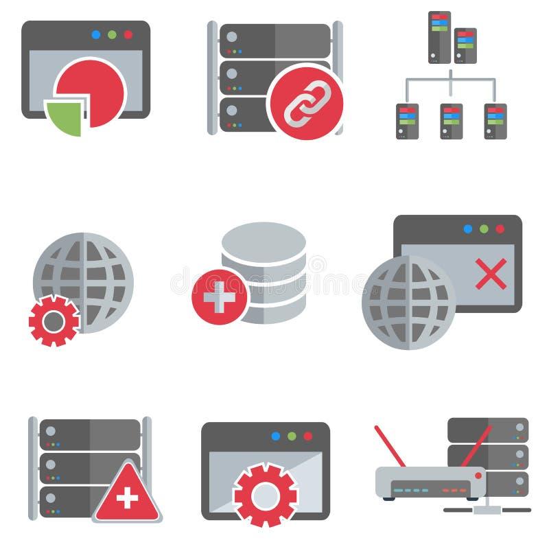 Serveur de base de données et ensemble d'icône de mise en réseau illustration stock