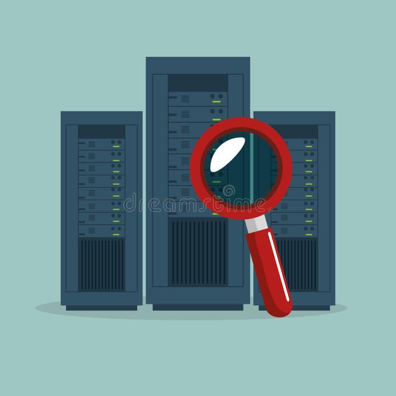 serveur de centre de traitement des données recherchant le graphique d'icône illustration stock