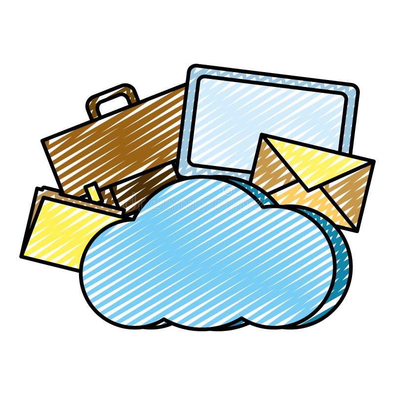 Serveur de connexion de réseau informatique de nuage de griffonnage illustration de vecteur
