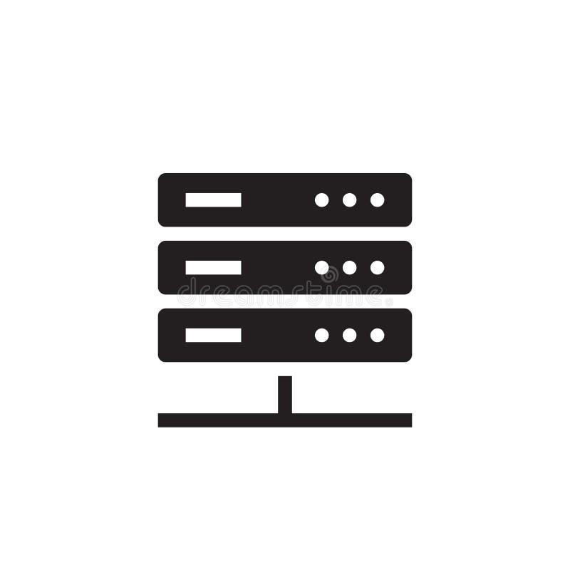 Serveur de réseau d'ordinateur - illustration noire de vecteur d'icône illustration stock