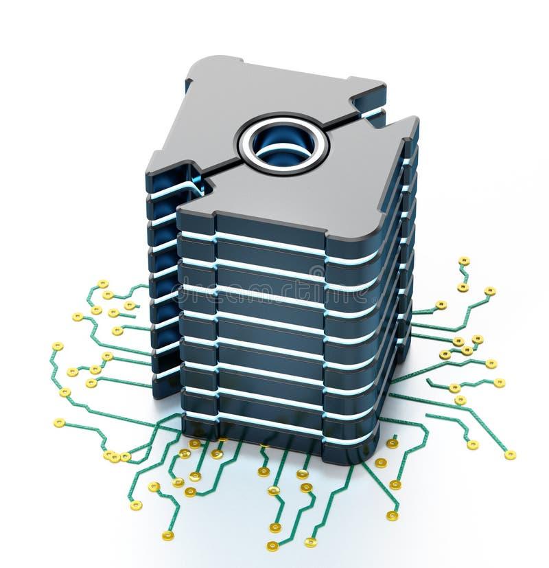Serveur de réseau futuriste générique sur le panneau de carte PCB illustration 3D illustration libre de droits