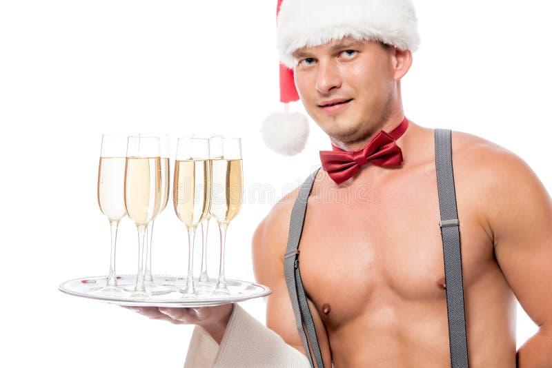Serveur de strip-teaseuse avec le champagne images libres de droits