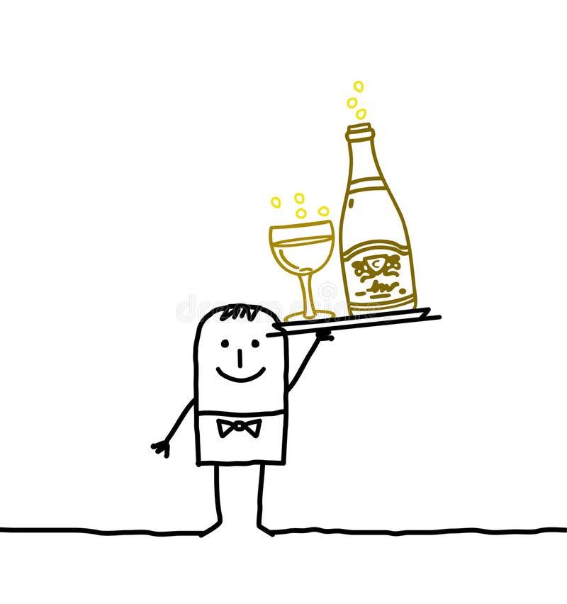 Serveur et Champagne illustration de vecteur