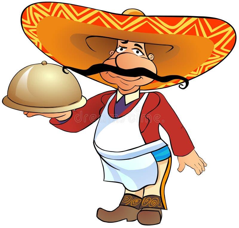 Serveur mexicain avec un plateau illustration stock