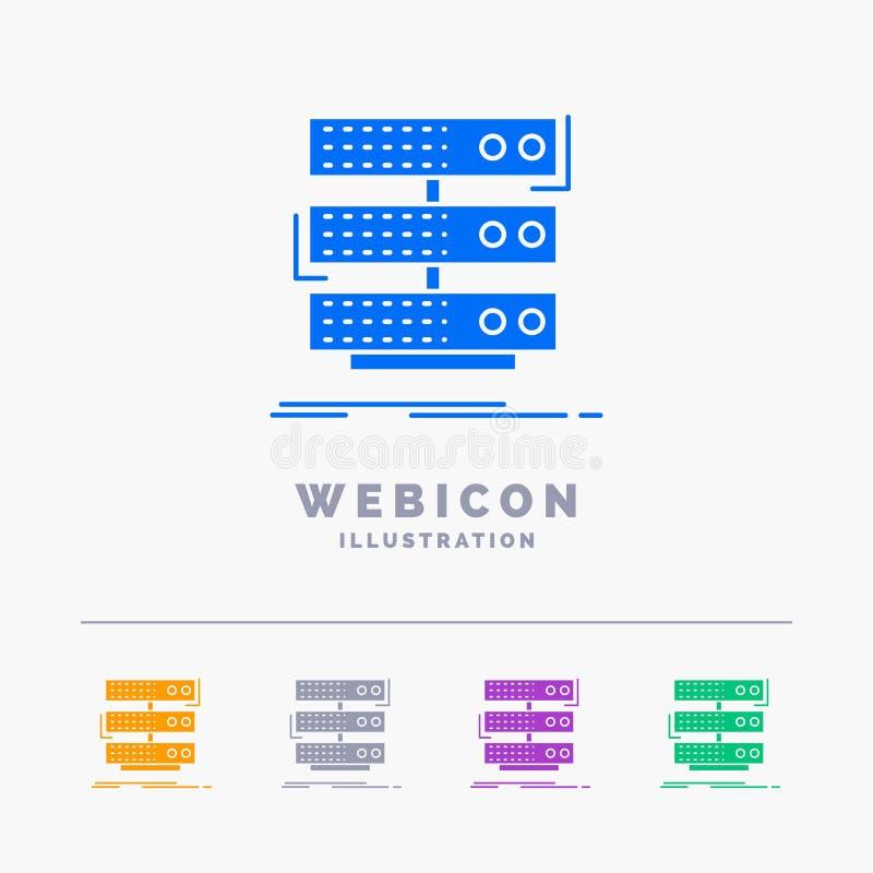 serveur, stockage, support, base de données, calibre d'icône de Web de Glyph de couleur des données 5 d'isolement sur le blanc Il illustration stock