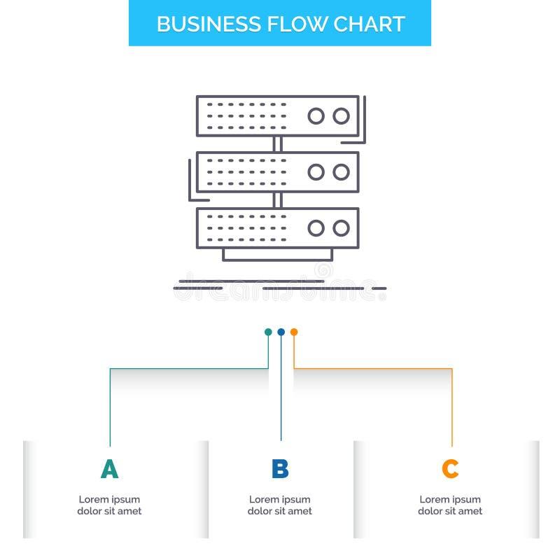 serveur, stockage, support, base de données, conception d'organigramme d'affaires de données avec 3 étapes Ligne ic?ne pour le ca illustration de vecteur
