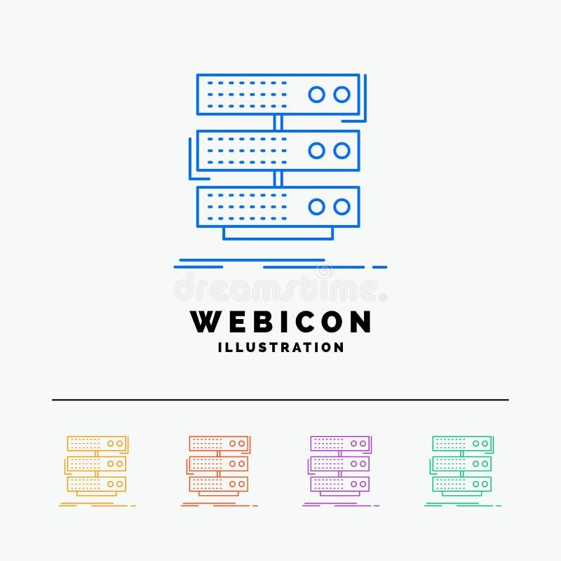 serveur, stockage, support, base de données, discrimination raciale des données 5 calibre d'icône de Web d'isolement sur le blanc illustration de vecteur