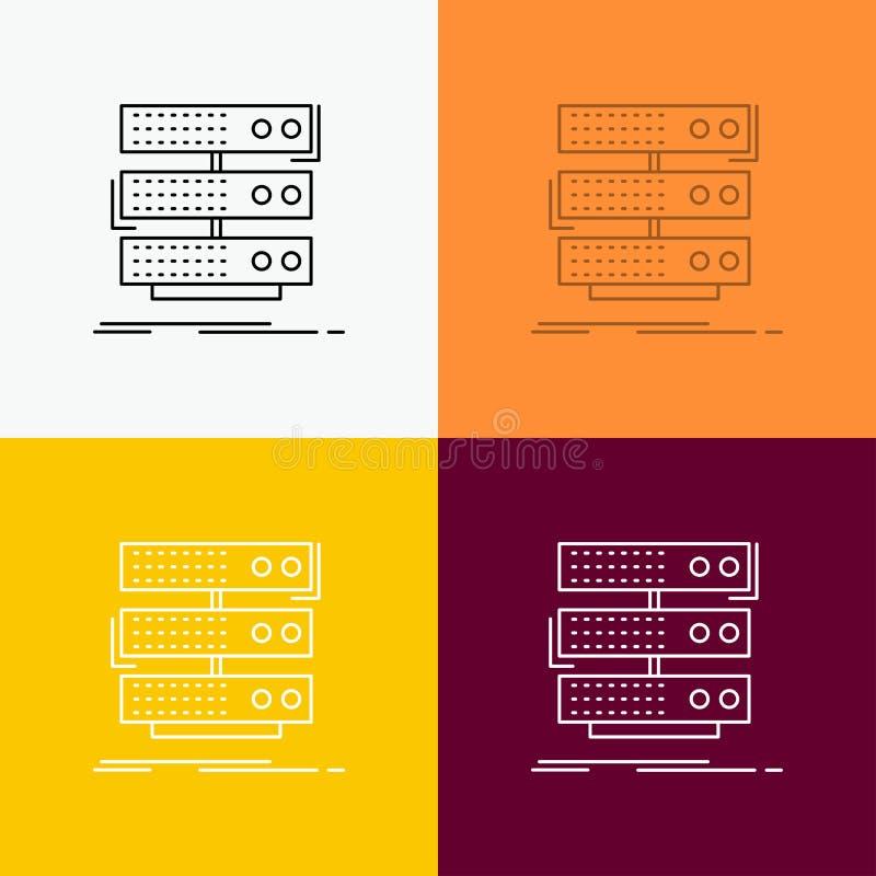 serveur, stockage, support, base de données, icône de données au-dessus de divers fond Ligne conception de style, con?ue pour le  illustration stock
