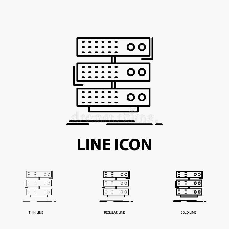 serveur, stockage, support, base de données, icône de données dans la ligne style mince, régulière et audacieuse Illustration de  illustration libre de droits