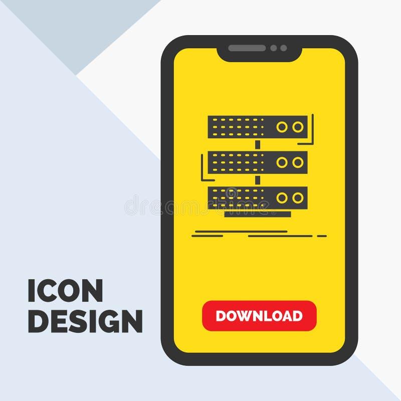 serveur, stockage, support, base de données, icône de Glyph de données dans le mobile pour la page de téléchargement Fond jaune illustration libre de droits