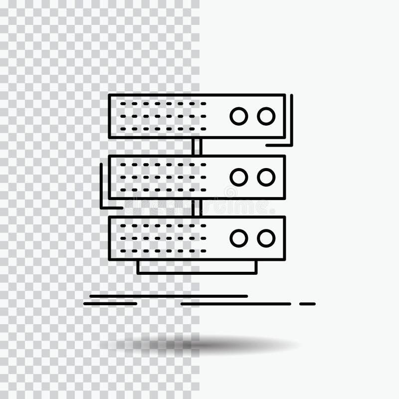 serveur, stockage, support, base de données, ligne de données icône sur le fond transparent Illustration noire de vecteur d'ic?ne illustration libre de droits