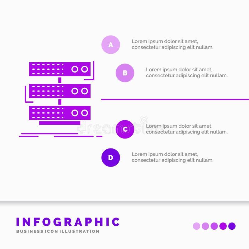 serveur, stockage, support, base de donn?es, calibre d'Infographics de donn?es pour le site Web et pr?sentation Style infographic illustration libre de droits