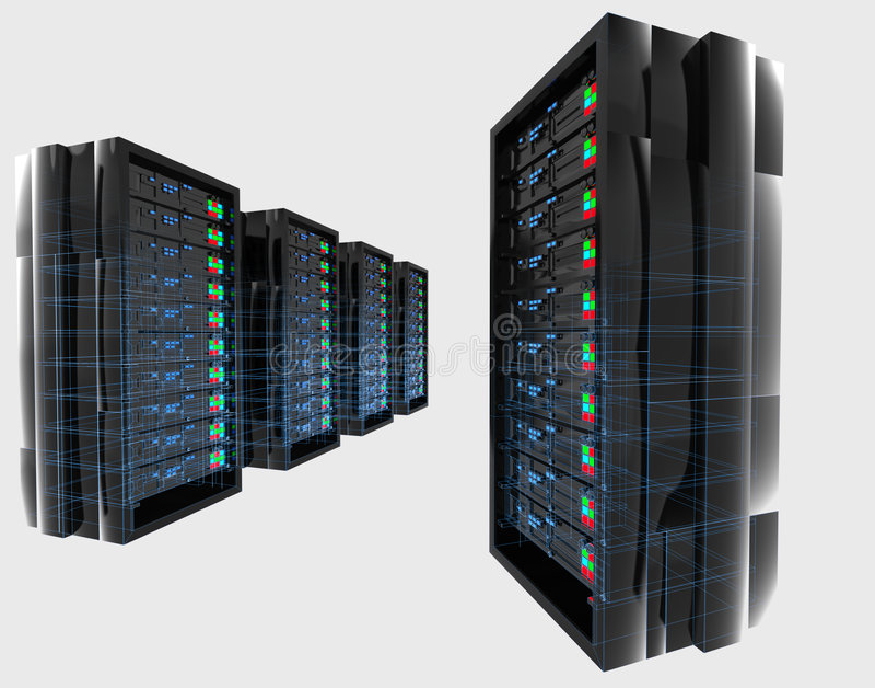 Serveurs avec le wireframe illustration stock