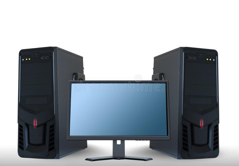 Serveurs d'ordinateur et moniteur d'affichage à cristaux liquides illustration stock