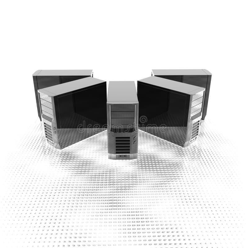 serveurs de l'ordinateur 3d dans une ligne illustration de vecteur