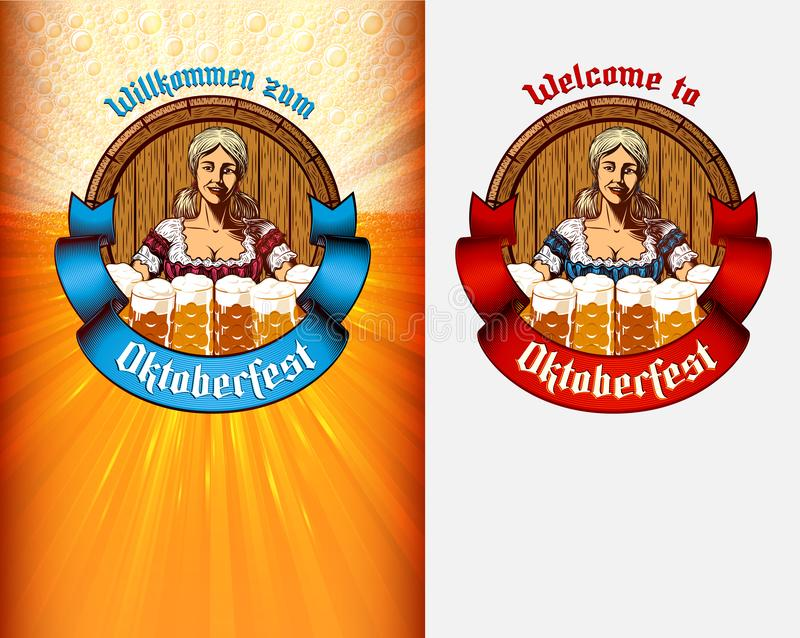 Serveuse Germany de fond de tasse en verre de bière de fille de calibre d'affiche d'Oktoberfest illustration de vecteur