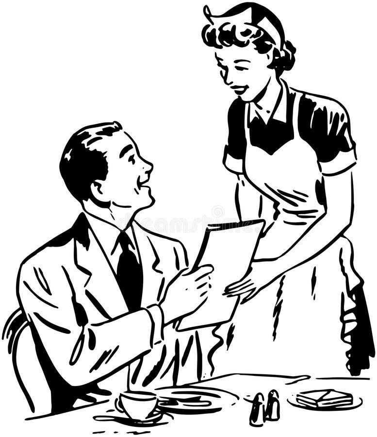 Serveuse Handing Out Menu illustration libre de droits