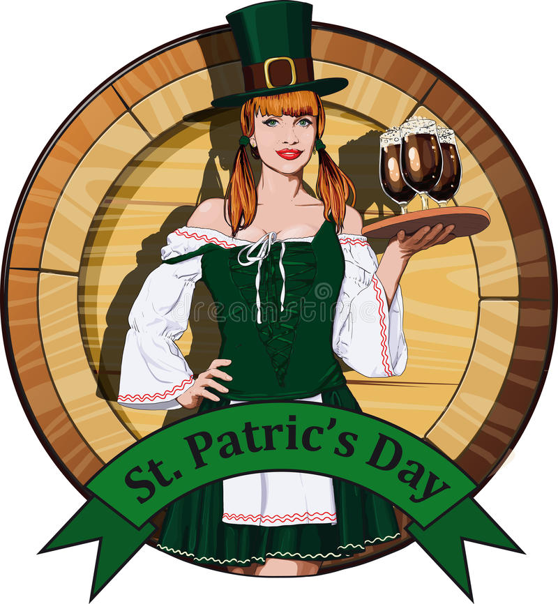 Serveuse irlandaise avec le label de bière illustration stock