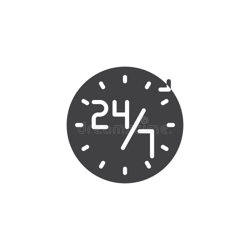 Serviço 24 ícone de 7 vetores ilustração stock