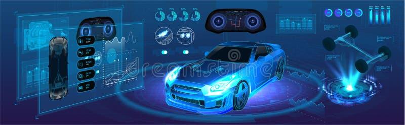 Serviço automático do futuro carro de diagnóstico de alta tecnologia ilustração royalty free