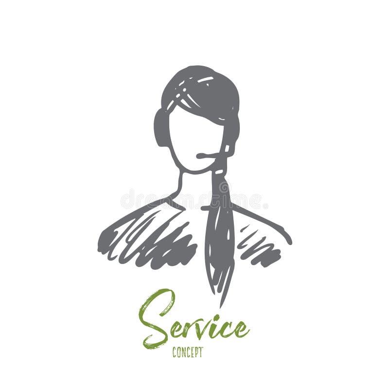 Serviço, cliente, operador, apoio, conceito da ajuda Vetor isolado tirado mão ilustração stock