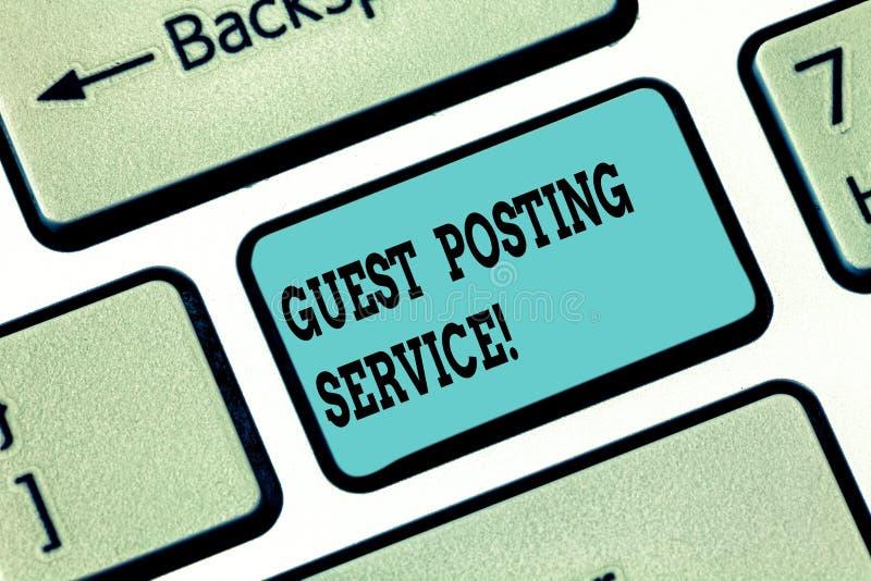 Serviço conceptual da postagem do convidado da exibição da escrita da mão Ato do texto da foto do negócio de contribuir um cargo  fotos de stock