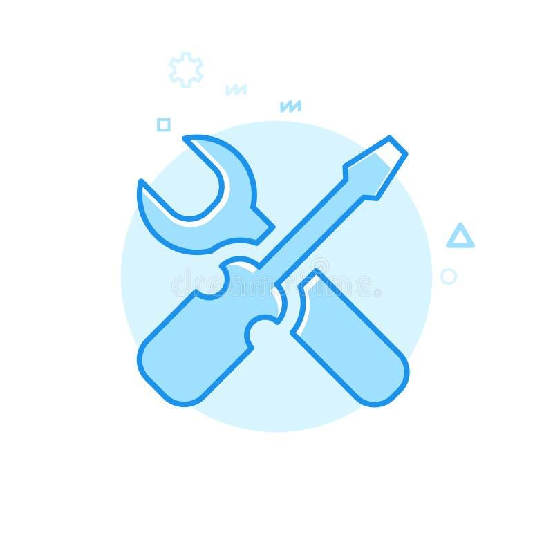 Serviço da bicicleta ou da bicicleta, ícone liso do vetor do reparo, símbolo, pictograma, sinal Projeto monocromático azul Curso  ilustração stock