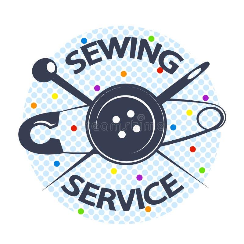 Serviço da costura com uma agulha e um botão ilustração royalty free