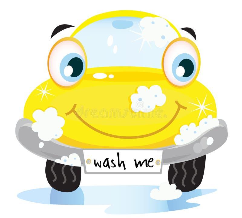 Serviço da lavagem de carro - automóvel amarelo feliz ilustração do vetor